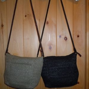 2 RELIC by FOSSIL Straw Shoulder bags Sage / Black